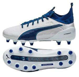 61c74994430f PUMA Men evo-Touch 1 FG Cleats White Blue Soccer Football Shoes ...