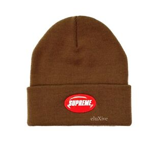 367ea84b0e0 NWT Supreme NY Men s Brown Red Rubber Patch Logo Beanie Knit Hat ...
