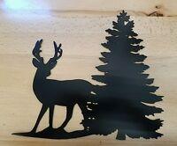 Whitetail Deer With Pine Tree Scene Metal Wall Art Plasma Cut Decor