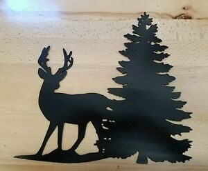 image is loading whitetail deer with pine tree scene metal wall: tree scene metal wall art