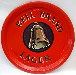 BELL-BRAND-LAGER-VINTAGE-ADVERTISING-TIN-TRAY-OLD-RED-SERVING-COLLECTIBLES-RARE