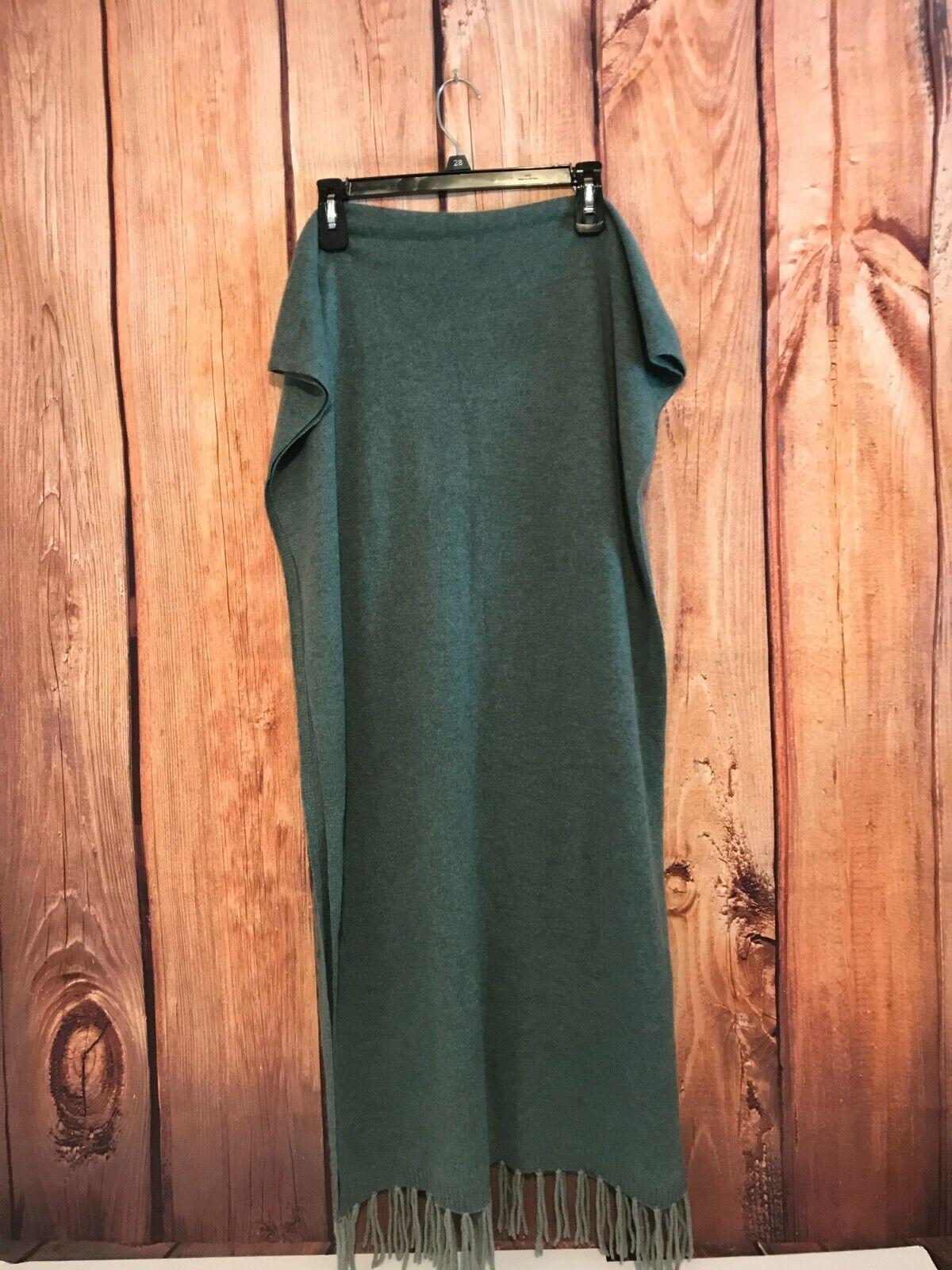 AMAZING~HANNAH ROSE GREEN 100% Cashmere Fringed Travel Wrap Scarf One Size
