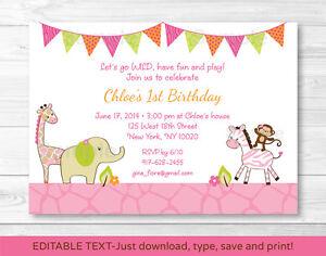 Image Is Loading Pink Safari Girl Jungle Animal Printable Birthday Invitation
