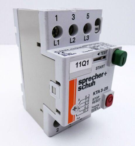 Sprecher+Schuh KTA3-25 KTA325 6,3-10A Schütz KT3-25-PE1-10 used