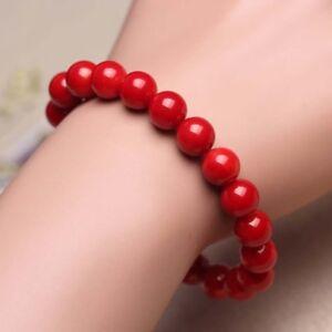 Natural-6MM-Coral-Red-Bracelet-Round-Beaded-Gemstone-Stretch-Bracelets-7-5-039-039