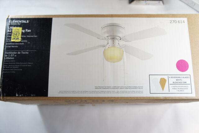 New Hampton Bay Littleton 42 4 Blade 1 Light Ceiling Fan White