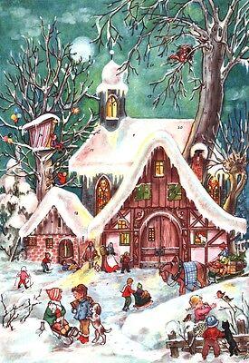 Snowscene Traditional German A4 Advent calendar - glitter & translucent windows