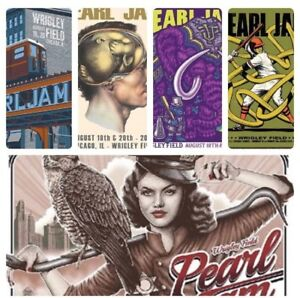 Pearl-Jam-Chicago-Wrigley-Field-5-Poster-Set-August-18-amp-20-2018-Mint