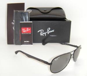 992e09ff354 Ray-Ban Carbon Fibre RB 8313 002 K7 58mm Shiny Black Grey Mirror ...
