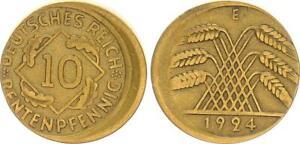 10 Pfennig 1924 e, Fehlprägung: 15% dezentriert, ohne Riffelrand ss-vz 63796