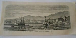 Gravure-1866-La-ville-et-les-fortification-de-Corfou-vue-de-l-039-ile-Vido
