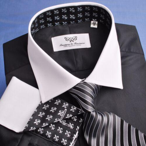 Black Poplin Dress Shirt Contrast French Double Cuff Business Formal Luxury Boss