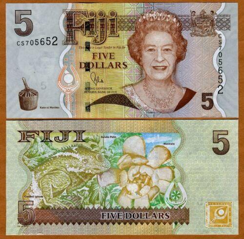 2007 UNC /> New title and sig. FIJI QEII 2011 5 dollars P-110b