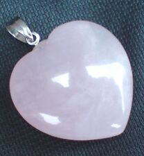 LOVE HEART ROSE QUARTZ PINK PENDANT WITH LEATHER NECKLACE & GIFT BOX 2.5cm Heart