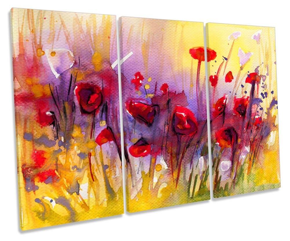 Abstracto Flores Amapola Roja Enmarcado Impresión de agudos lona de agudos de Pa rojo  Arte 39cedd