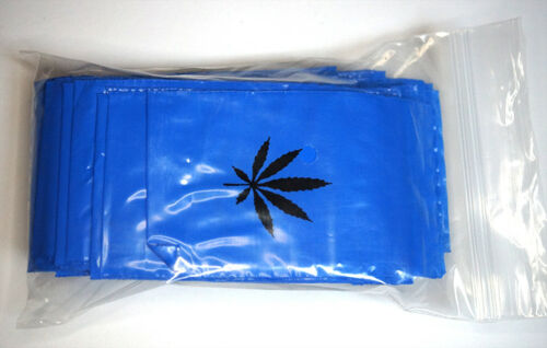 Zip Pe Bag 60x80mm 50µ Blue with Hemp Leaf Hemp Leaf Pressure-Seal Pouches Bag