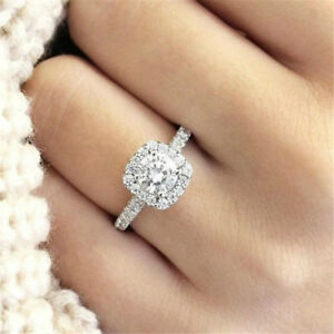 Halo-Cushion-Cut-18K-White-Gold-White-Sapphire-Engagement-Ring-Jewelry-Size-5-11