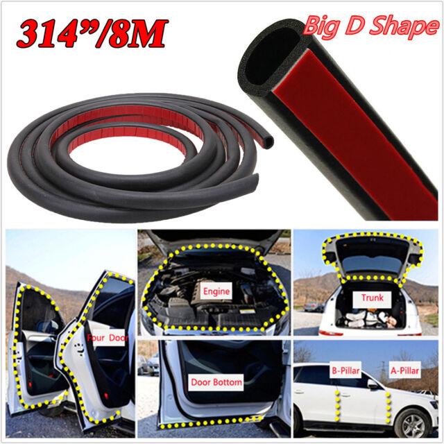 1X 8M D-Shape Car Truck Motor Door Rubber Seal Strip Weather strip Waterproof