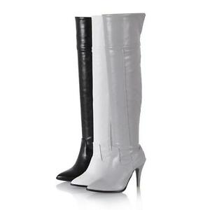 f1c3829298b Ladies Slim High Heel Over Knee Boots Synthetic Leather Zip Riding ...