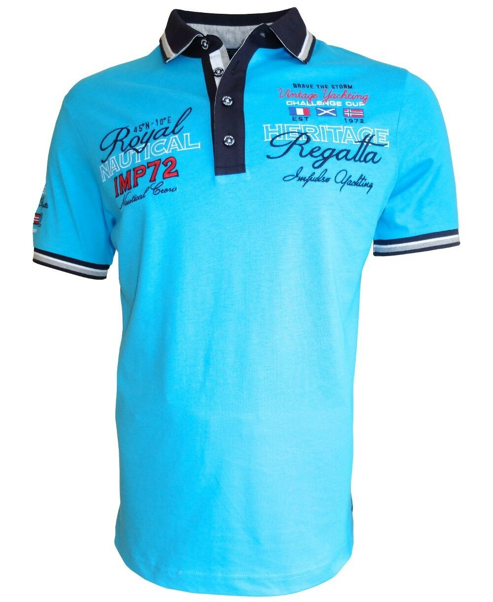 Impulso  Polo Shirt Vintage Yachting Club Regatta aquablue Gr. M bis 3XL