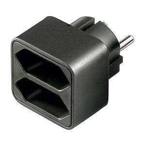 euro doppelsteckdose adapter 1 x schuko stecker 2 x euro buchse schwarz 4402 ebay. Black Bedroom Furniture Sets. Home Design Ideas