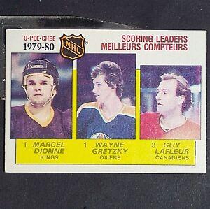 WAYNE-GRETZKY-DIONNE-LAFLEUR-1980-81-OPeeChee-163-Scoring-Leaders-HOF