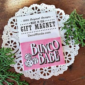 DECO-MAGNET-2-034-x3-034-BUNCO-BABE-Fridge-Magnet-bunko-party-game-Gift-pink-USA
