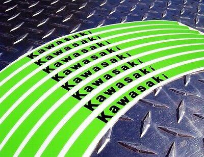GREEN Kawasaki Logo Rim Stripes Tape: 250R 300 ZX6 ZX9 ZX10 ZX12 ZX14 Z750 Z1000