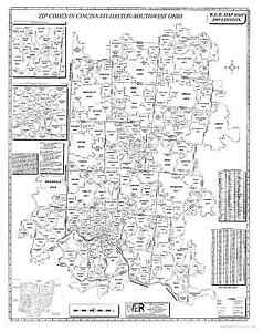 Ohio Map With Zip Codes.Cincinnati Dayton Sw Ohio Laminated Zip Code Wall Map Ebay