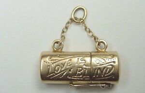 Antique-Vintage-Retro-Love-Is-Blind-Charm-14K-Gold-83-034-x-33-034-x-23-034-3-9-Grams