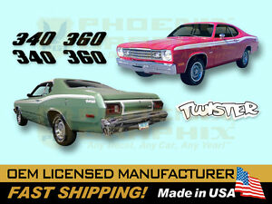 1973 1974 Plymouth Duster 340 360 Or Twister Complete Decals Stripes Kit Ebay