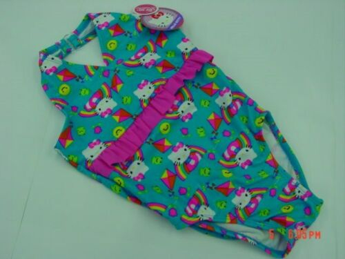 NWT Toddler Girls Hello Kitty One Piece Bathing Suit Swim Summer Fun Blue