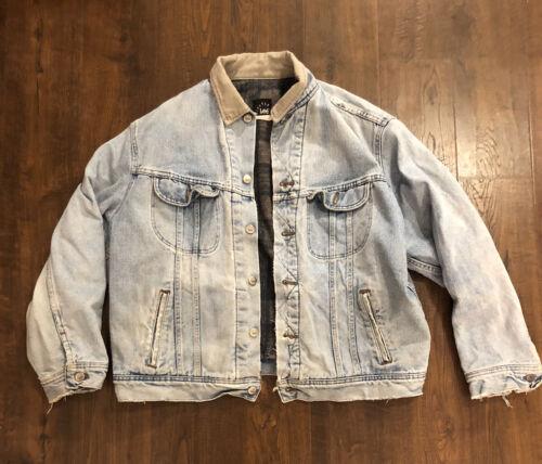 Vintage Lee Denim Jacket Blanket Lined Riveted Dis