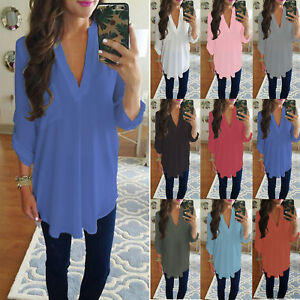 Women-Chiffon-Long-Sleeve-V-Neck-Shirt-Blouse-Ladies-Tunic-Top-T-shirt-Plus-Size