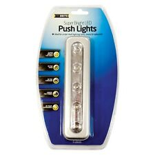 Stick N Click 5 Strip LED Light Battery Operated Push On Off Self Stick Lights