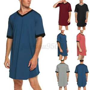 Mens Short Sleeve V-Neck Nightshirt Kaftan Nightwear Sleepwear Long Dress Top US