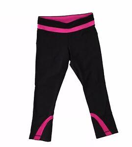 lululemon black pink inspire run crop pant pants pant size
