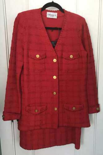 CHRISTIAN A of ADOLFO 2-PC SKIRT SUIT USA MADE RED