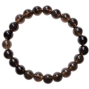 Details about Premium CHARGED Smokey Quartz Crystal 8mm Bead Bracelet  Stretchy EMF PROTECTION