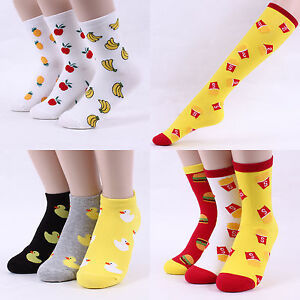 a2292188e Details about Fruit Rubber Duck Fast Food Pattern Ankle Crew Knee Socks  Banana Pineapple