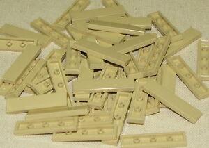 LEGO-LOT-OF-50-NEW-1-X-4-TAN-TILES-SMOOTH-BRICKS-BUILDING-BLOCKS-PIECES