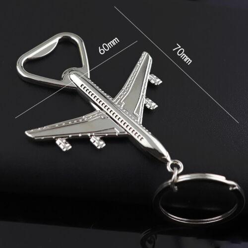 US/_ Creative Airplane Model Bottle Opener Keychain Car Key Ring Holder Pendant G