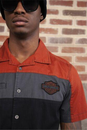 Herren kurzarm Schwarz Orange Harley-Davidson Copperblock Shirt Hemd Gr L
