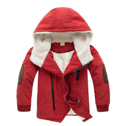Child Kids Baby Boy Winter Warm Hooded Coat Thick Jacket Cotton-padded Outwear