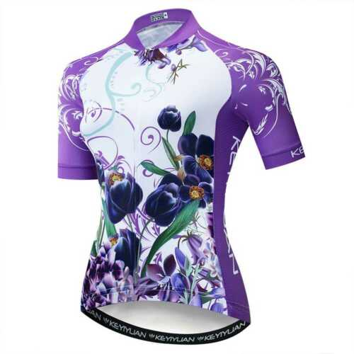 Women/'s Cycling Biking Jersey Coolmax Bicycle Shirt with Reflective Zip Pocket