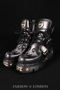 in nera Stivaletti unisex con in metallo Goth Rock da pelle 407 s1 argento croce motociclista New g40tw4