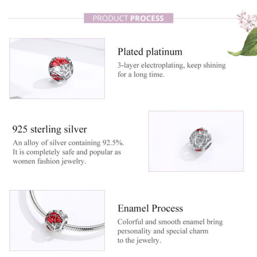 Bamoer Women Do it yourself Charm S925 Argent Sterling Émail Carnation Bead Fit Bracelet