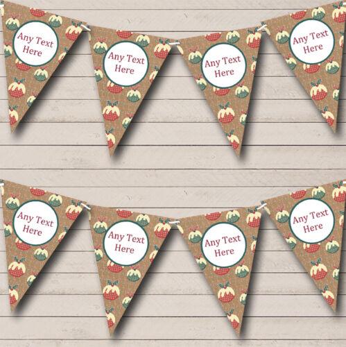 Xmas Puddings Personalised Christmas Decoration Bunting Banner Garland