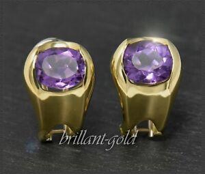 Ohrstecker-mit-5-30ct-Amethyst-aus-9-1-Gramm-750-Gold-18-Karat-Clip-Ohrringe