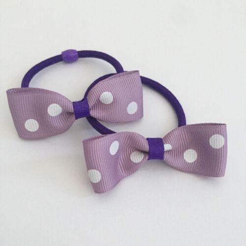 2 Packs Of Purple polkadot hair bobbles//hair bow//girls Accessories